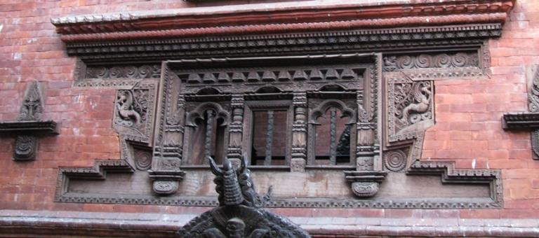 Ornate frieze on a building in Bhaktapur, Nepal