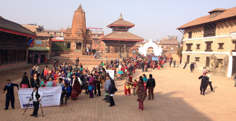 People gathered in the city square of Nepal
