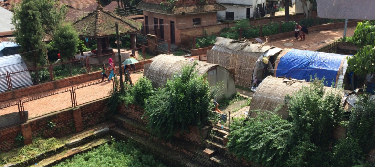 Temporary housing after earthquake in Bhaktapur, Nepal