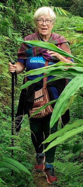 Trish hikes through forest of India
