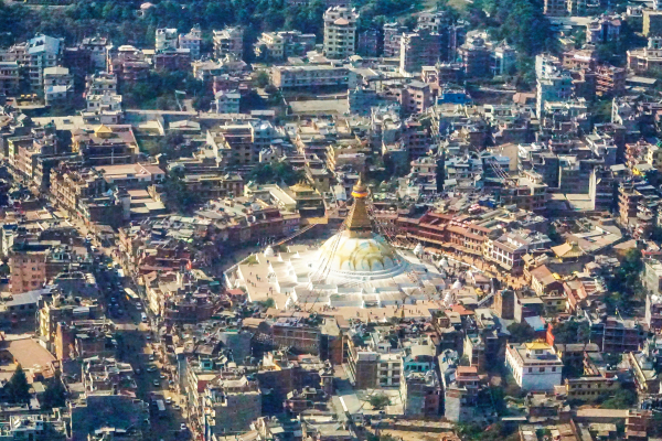 Nepal city architecture photographed from a distance