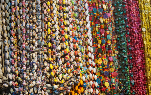 Close up of colorful Indian bead work