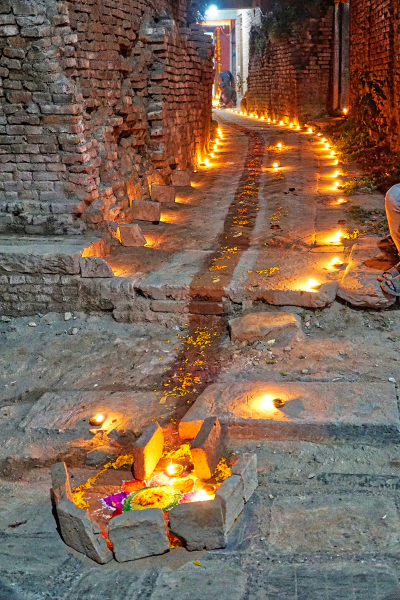 Lights line the streets of Nepal