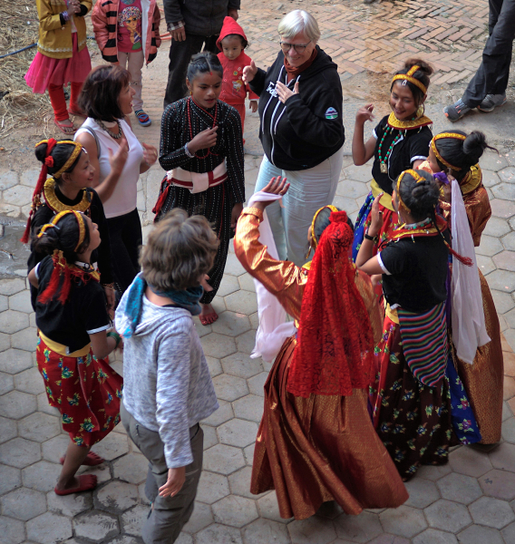 Trish dancing with Nepal ladies