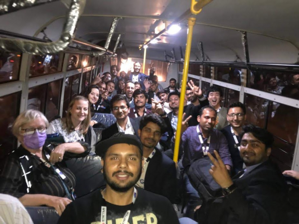 Trish filled with bus of India people