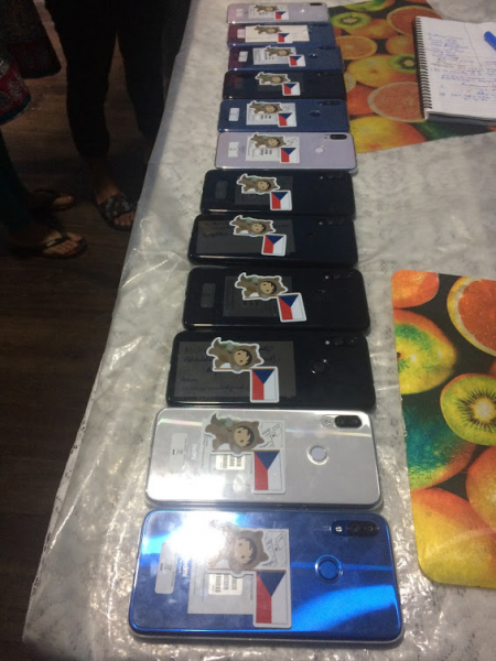 Row of phones for people in villages visited.