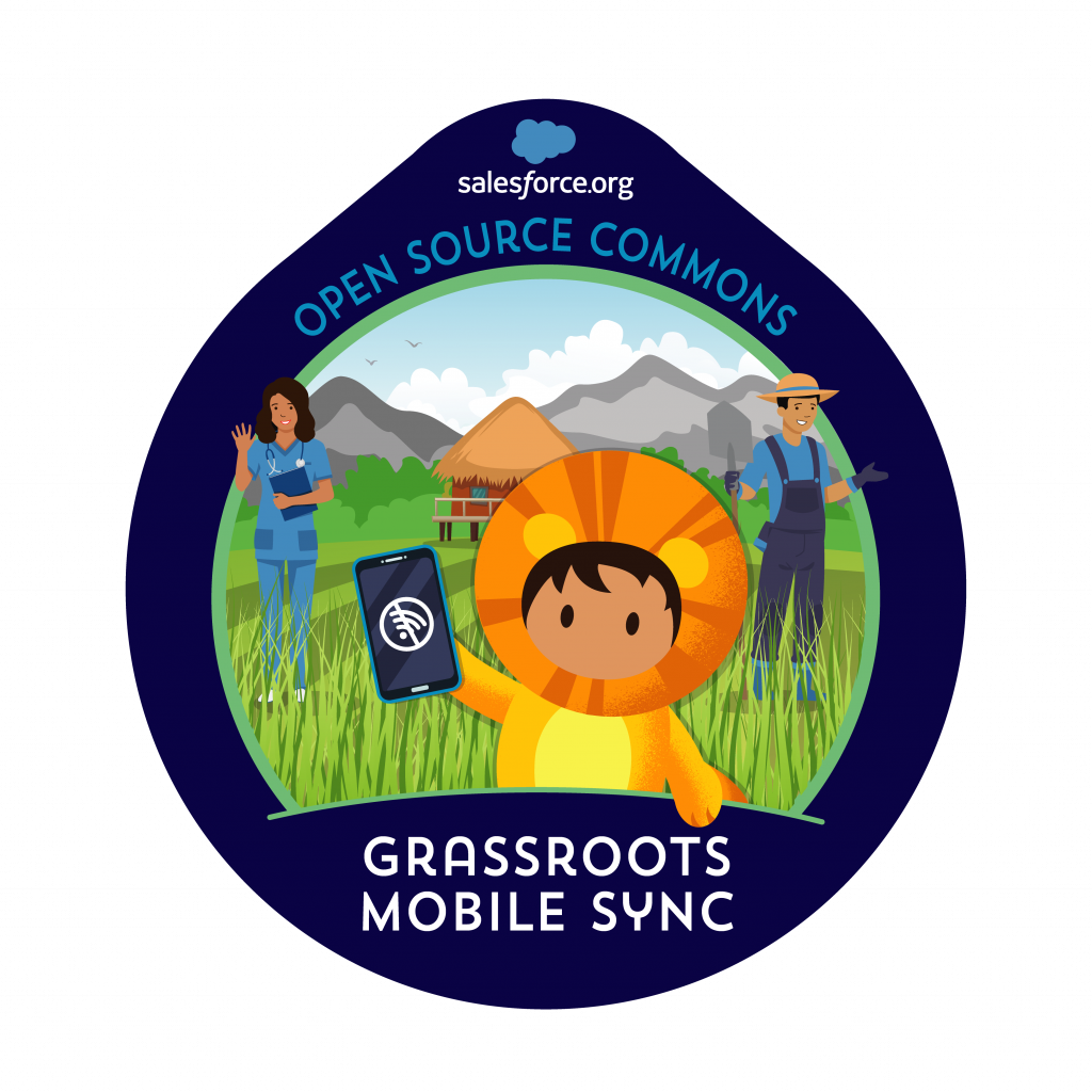 Illustration badge for the Grassroots Mobile Sync App. There is a child in a tiger costume holding a mobile phone with a no wifi symbol on it. Behind the kid is a doctor and a farmer in a rural setting.